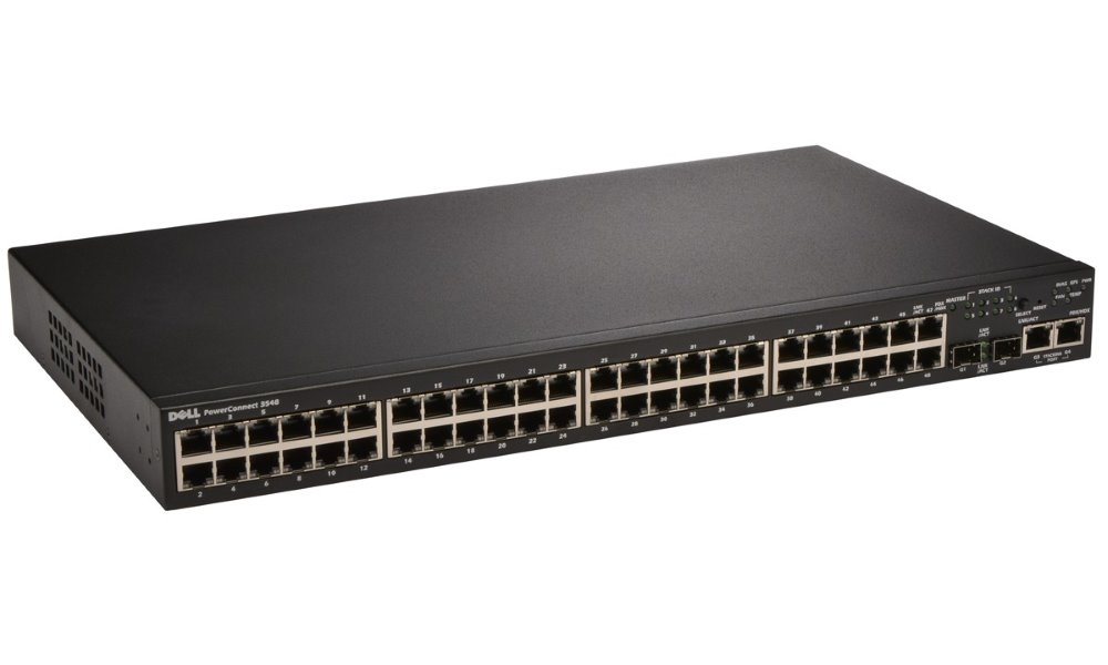 Switch DELL PowerConnect 3548 Switch, 48 x 10,100 Baset-T+ 2 x SFP Combo GbE, stohovatelný, 4Gb, Web management, 3YNBD 210-19769