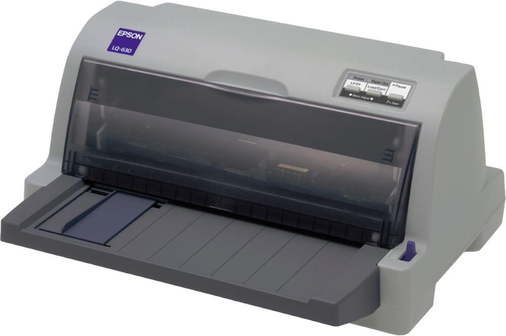 Jehličková tiskárna Epson LQ-630 Černobílá jehličková tiskárna, 24 jehel, 360zn,s, USB 1.1, LPT C11C480019