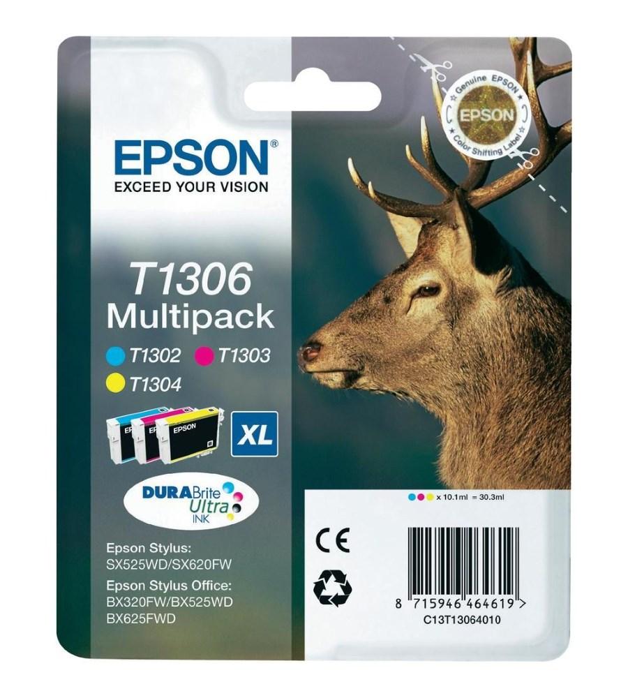 Inkoustová náplň Epson T1306 CMY Inkoustová náplň, originální, pro Epson SX525WD, BX305F, BX625FWD, BX535WD, BX635FWD, CMY C13T13064010