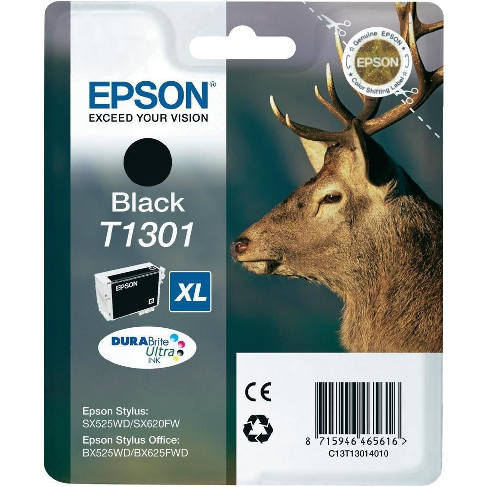 Inkoustová náplň Epson T1301 černá Inkoustová náplň, originální, pro Epson SX525WD, BX305F, BX625FWD, BX535WD, BX635FWD, Workforce WF-3520DWF, XL, černá C13T13014010