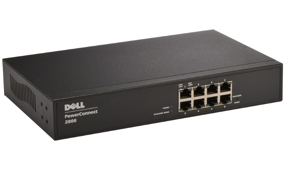 Switch DELL PowerConnect 2808 Switch, 8 x 10,100,1000 port, Web management, 3YNBD on-site 210-27775