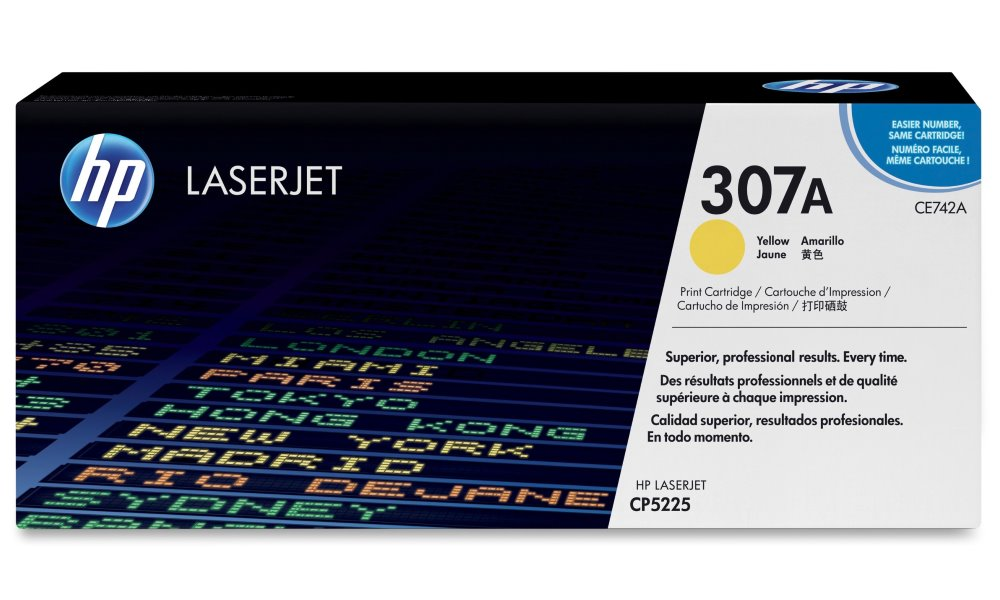 Toner HP 307A CE742A žlutý Toner, originální, pro HP Color LaserJet Professional CP5225, CP5225n, CP5225dn, 7300 stran, žlutý CE742A