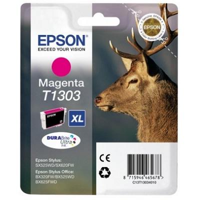 Inkoustová náplň Epson T1303 purpurová Inkoustová náplň, originální, pro Epson SX525WD, BX305F, BX625FWD, BX535WD, BX635FWD, Workforce WF-3520DWF, XL, purpurová C13T13034010
