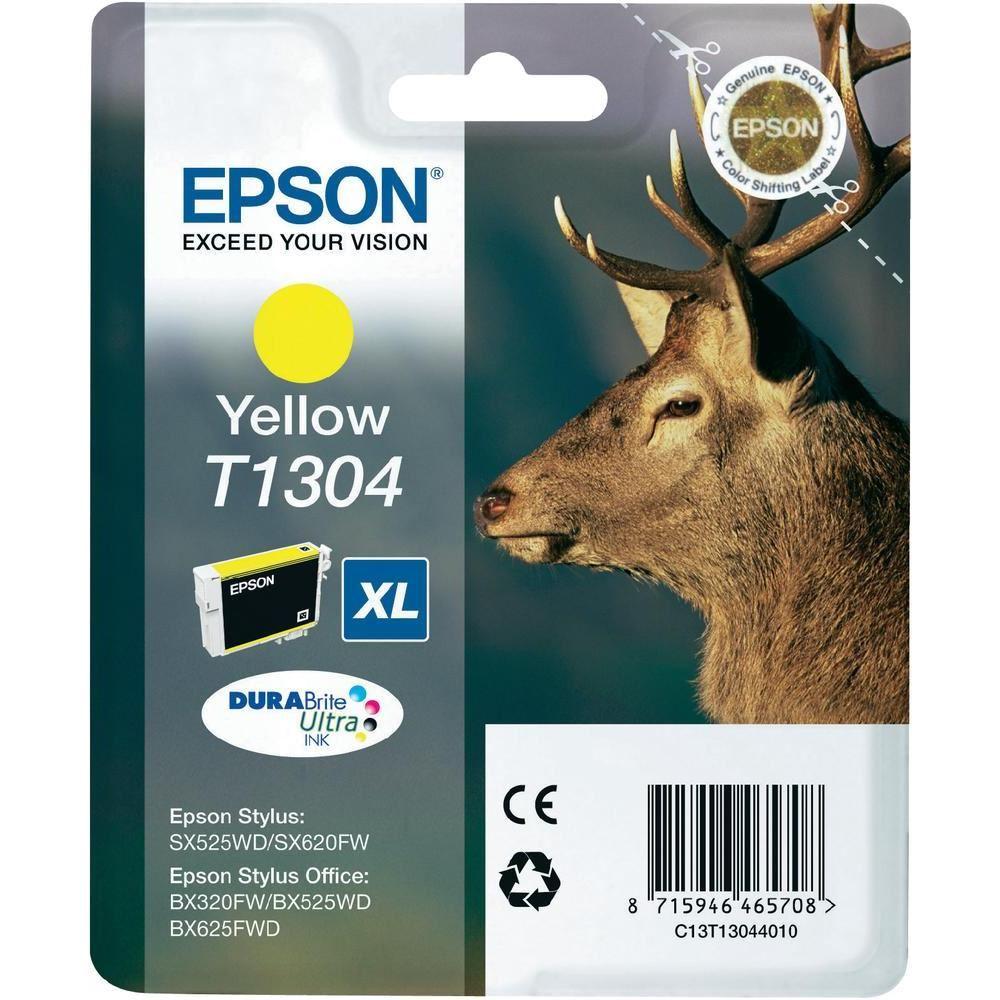 Inkoustová náplň Epson T1304 žlutá Inkoustová náplň, originální, pro Epson SX525WD, BX305F, BX625FWD, BX535WD, BX635FWD, Workforce WF-3520DWF, XL, žlutá C13T13044010