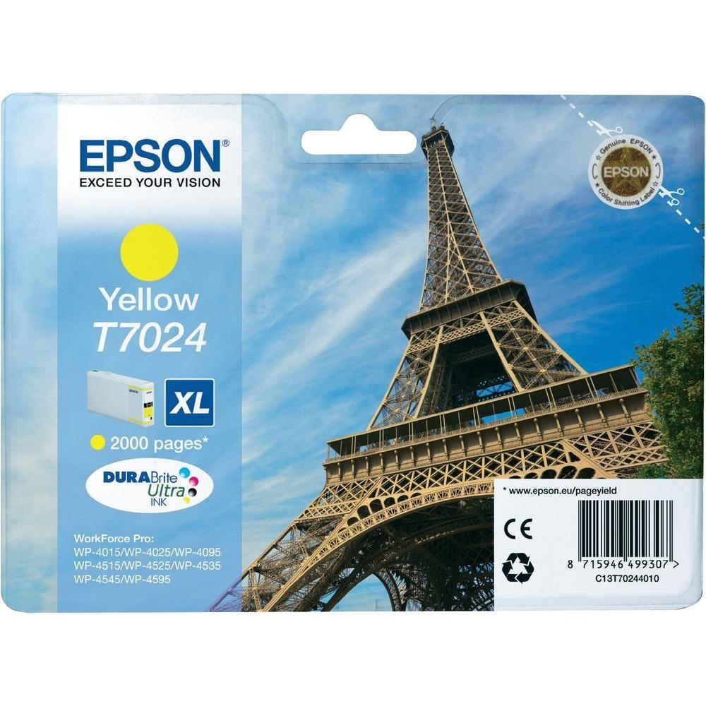Epson inkoustová náplň/ C13T70244010/ WP-4000/ 4500/ 2 000 stran/ XL Žlutá