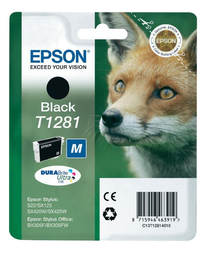 Cartridge inkoustová náplň Epson , C13T12814011, S22, SX125, SX130, SX425W, BX305, Černá C13T12814011