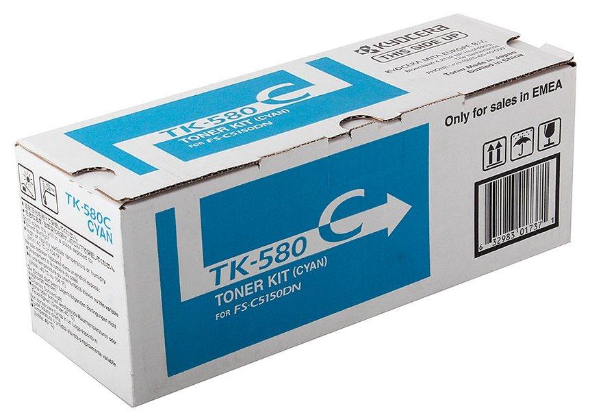 Toner Kyocera TK-580C modrý Toner, originální, pro Kyocera FS-C5150DN, 2 800 stran, modrý TK-580C