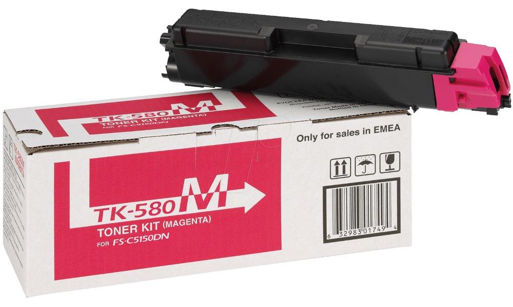 Toner Kyocera TK-580M červený Toner, originální, pro Kyocera FS-C5150DN, 2 800 stran, červený TK-580M