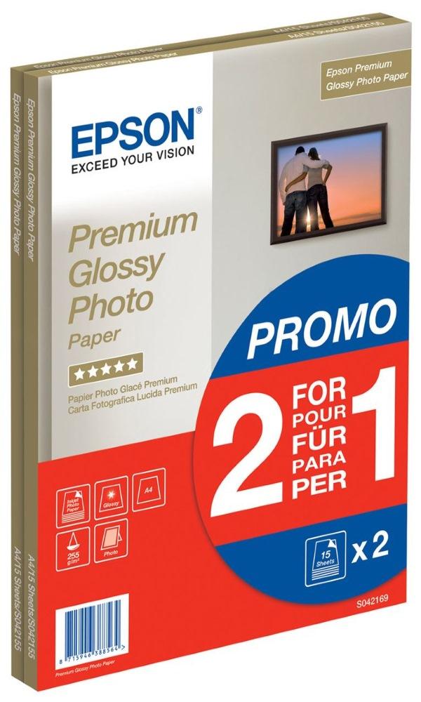 Fotopapír EPSON Premium Glossy A4 Fotopapír, A4, lesklý, 255g, 2x15ks C13S042169
