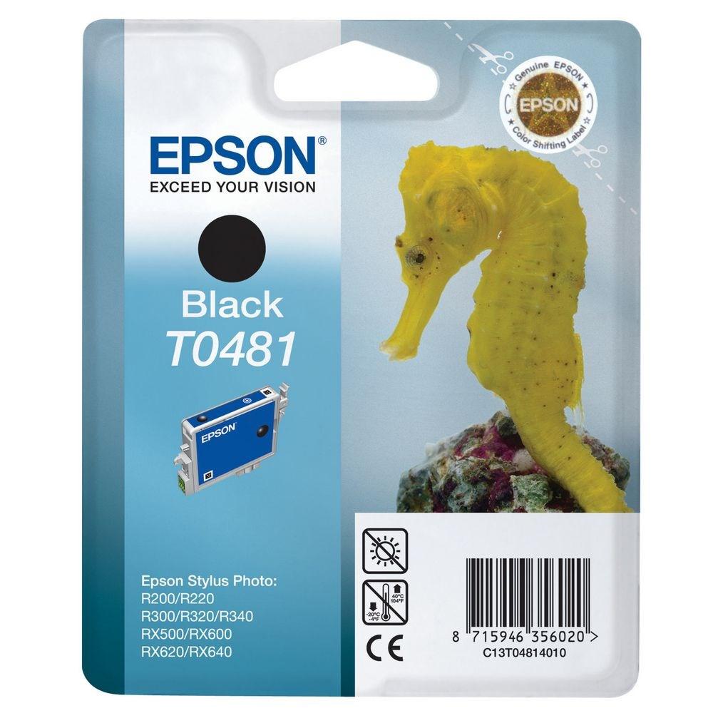 Inkoustová náplň Epson T0481 černá Inkoustová náplň, originální, pro Epson Stylus R200, R220, R300, R320, R340, RX500, RX600, RX620, RX640, černá C13T04814010