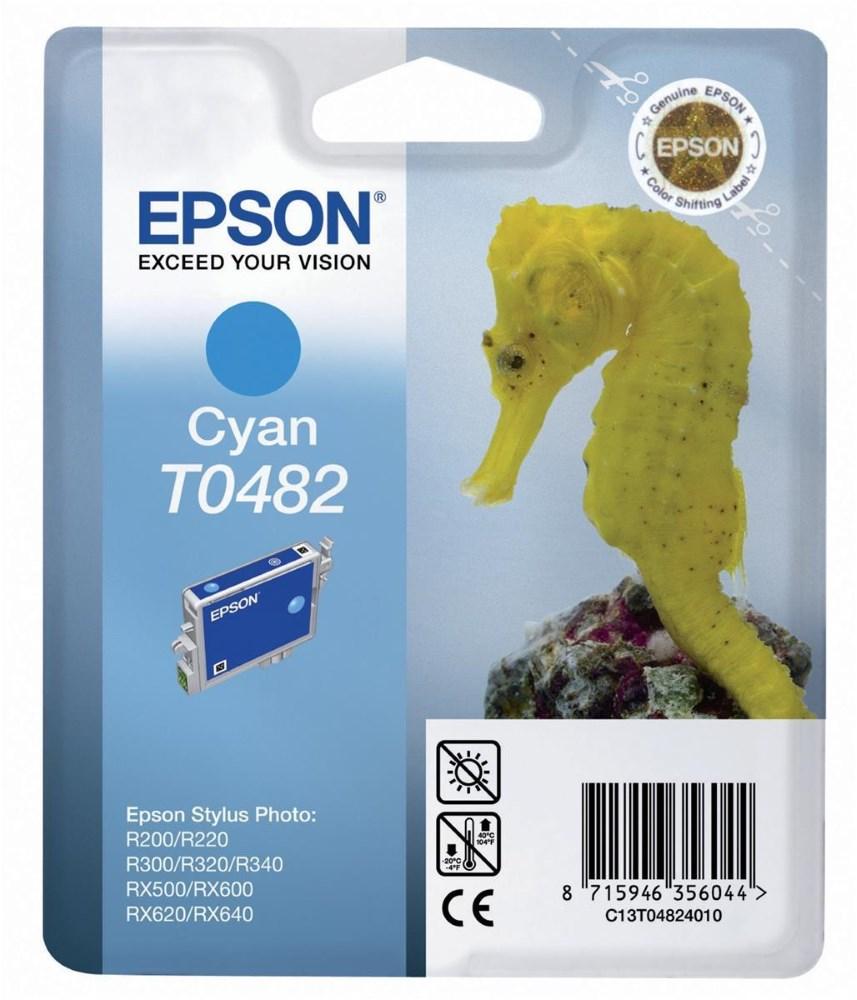 Inkoustová náplň Epson T0482 modrá Inkoustová náplň, originální, pro Epson Stylus R200, R220, R300, R320, R340, RX500, RX600, RX620, RX640, modrá C13T04824010