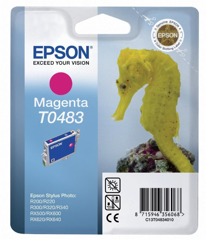 Inkoustová náplň Epson T0483 purpurová Inkoustová náplň, originální, pro Epson Stylus R200, R220, R300, R320, R340, RX500, RX600, RX620, RX640, purpurová C13T04834010