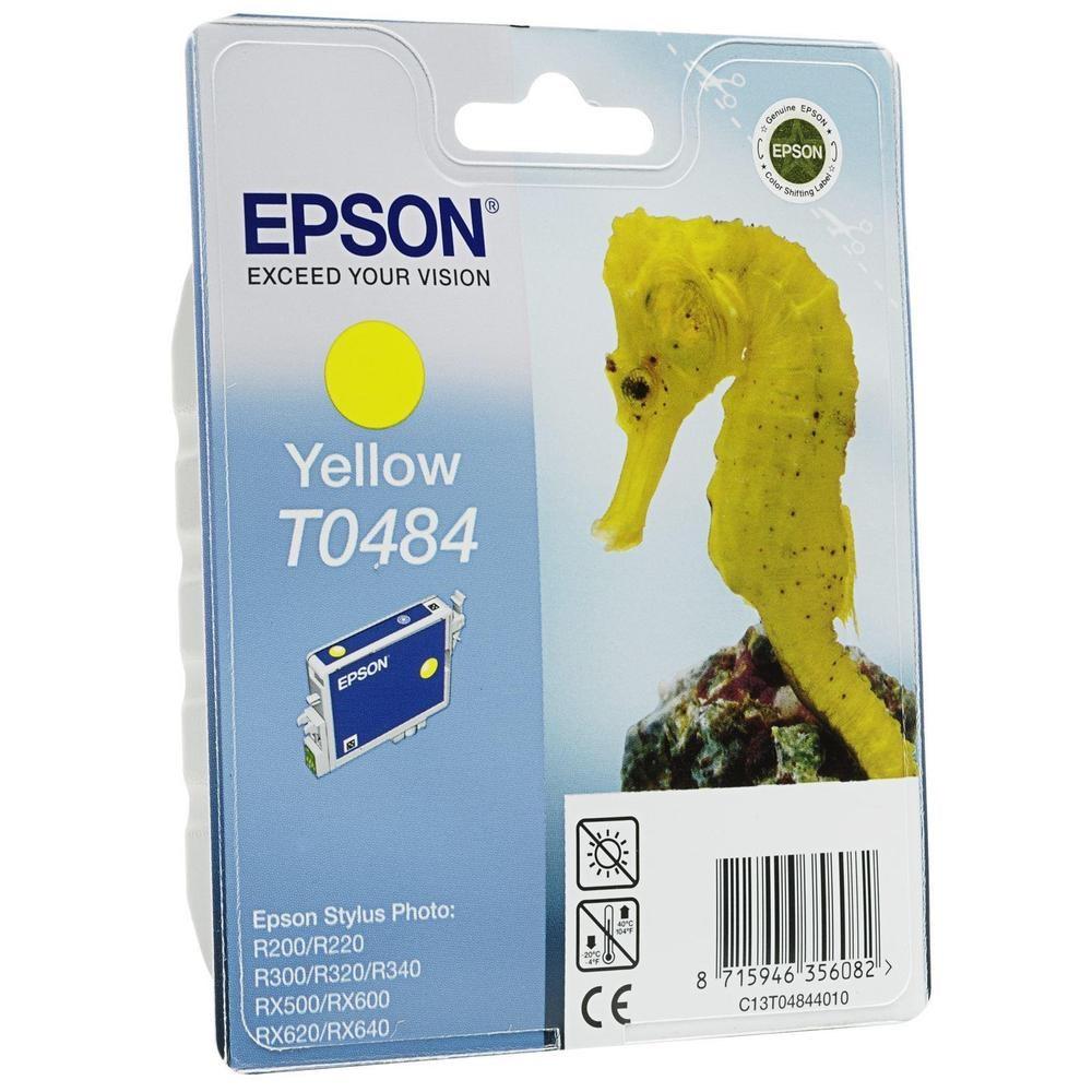 Inkoustová náplň Epson T0484 žlutá Inkoustová náplň, originální, pro Epson Stylus R200, R220, R300, R320, R340, RX500, RX600, RX620, RX640, žlutá C13T04844010