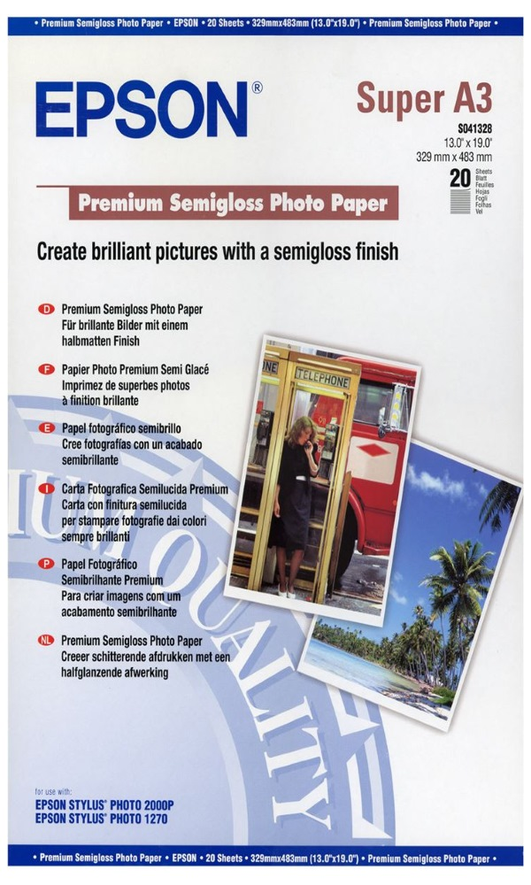 Fotopapír EPSON Premium Semigloss A3+ Fotopapír, A3+, pololesklý, 250g, 20 listů C13S041328
