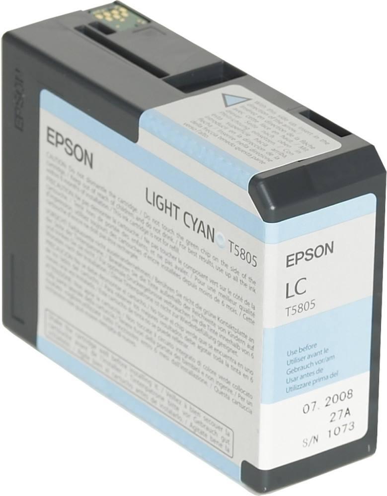 Inkoustová náplň Epson T5805 světlá modrá Inkoustová náplň, originální, pro Epson Stylus PRO 3800, 3880, světlá modrá C13T580500