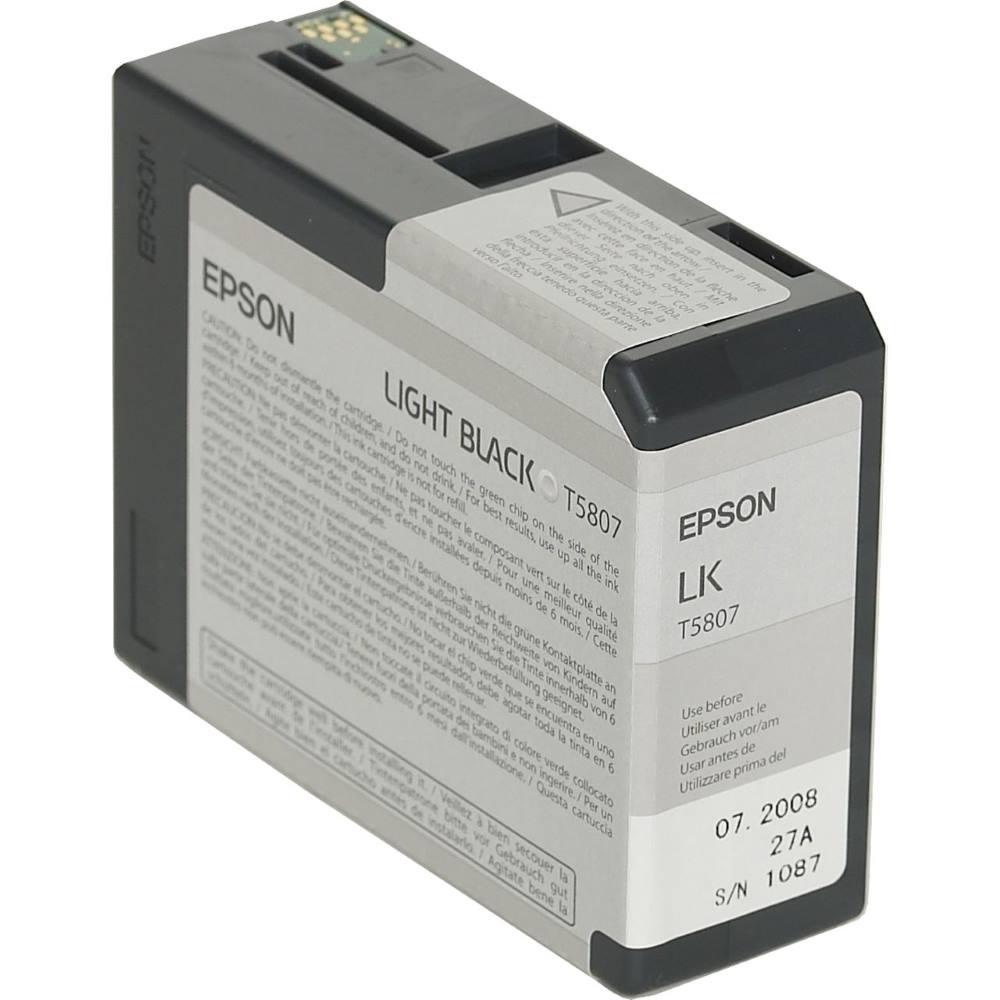 Inkoustová náplň Epson T5807 světlá černá Inkoustová náplň, originální, pro Epson Stylus PRO 3800, 3880, světlá černá C13T580700