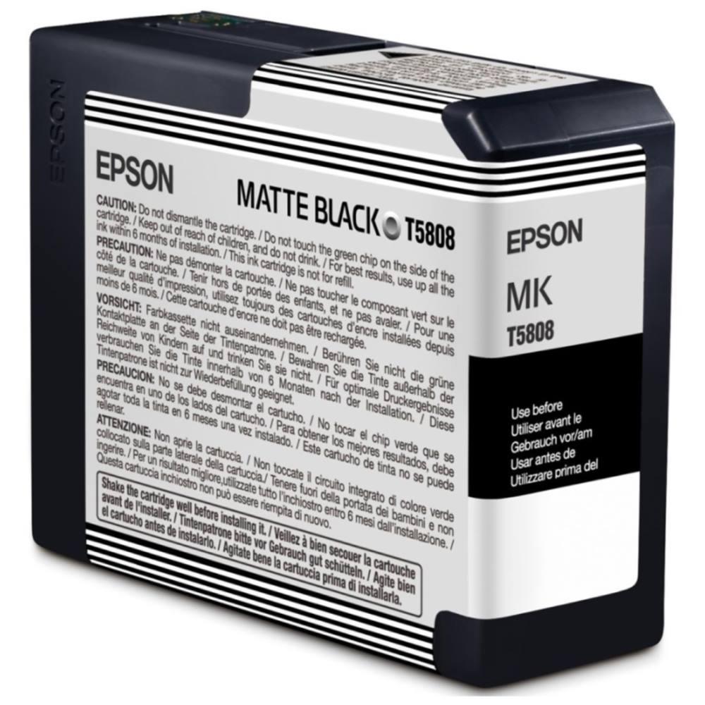 Inkoustová náplň Epson T5808 matná černá Inkoustová náplň, originální, pro Epson Stylus PRO 3800, 3880, matná černá C13T580800