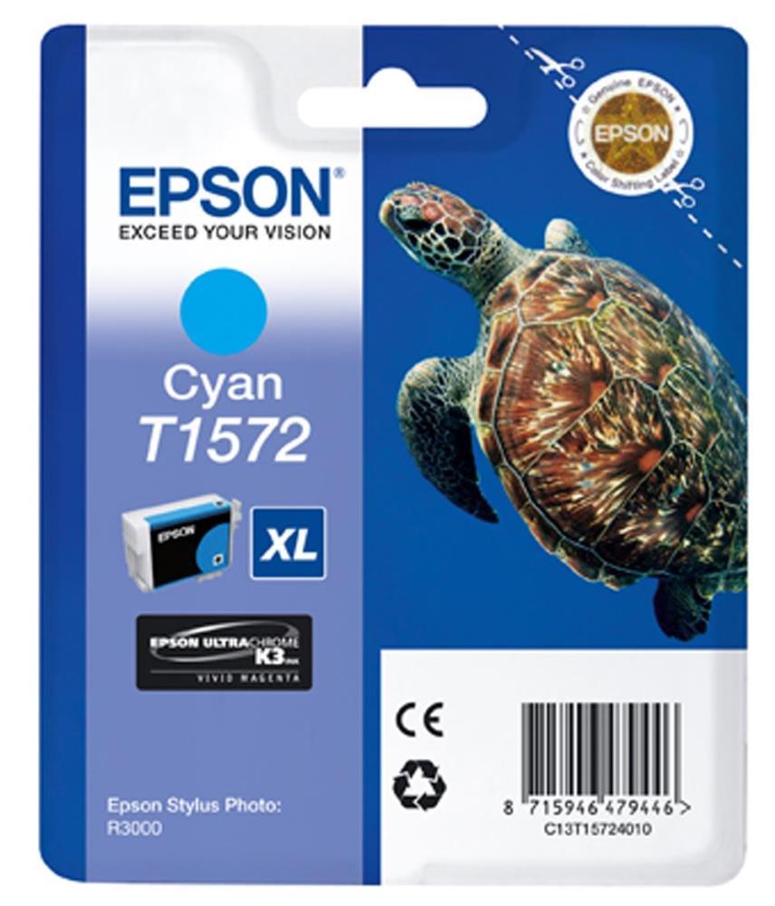Inkoustová náplň Epson T1572 modrá Inkoustová náplň, originální, pro Epson Stylus Photo R3000, modrá C13T15724010