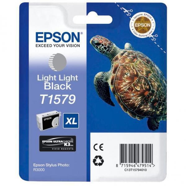 Inkoustová náplň Epson T1579 světle černá Inkoustová náplň, originální, pro Epson StylusPhoto R3000, světle černá C13T15794010