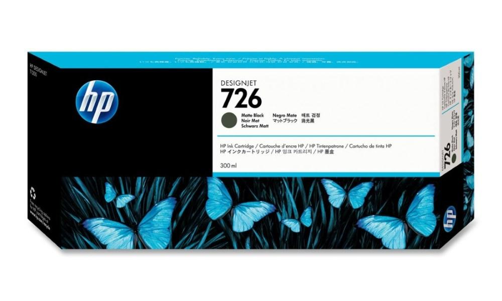 Inkoustová náplň HP 726 matná černá Inkoustová náplň, originální, pro HP DesignJet T1300, 2300, 1200, 795, 300 ml, matná černá CH575A