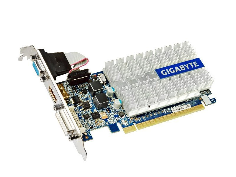 Grafická karta GIGABYTE nVIDIA 210 Grafická karta, PCI-E, 1GB DDR3, HDMI, DVI, D-SUB, passive GV-N210SL-1GI