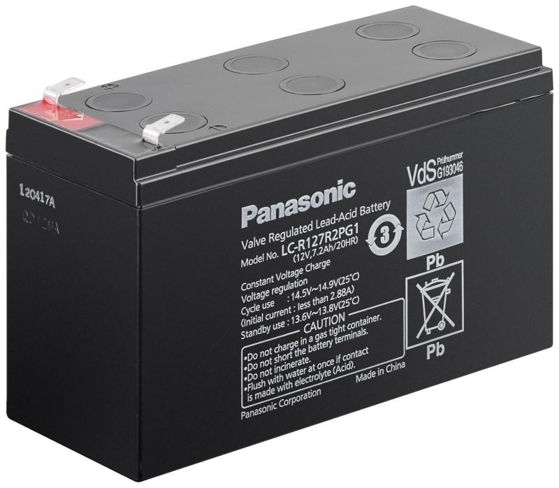 Baterie PANASONIC LC-R127R2PG1 Baterie, pro UPS, pro AEG, APC, Eaton, 12V, 7,2Ah, životnost 6 - 9 let, konektor Faston 250 00909