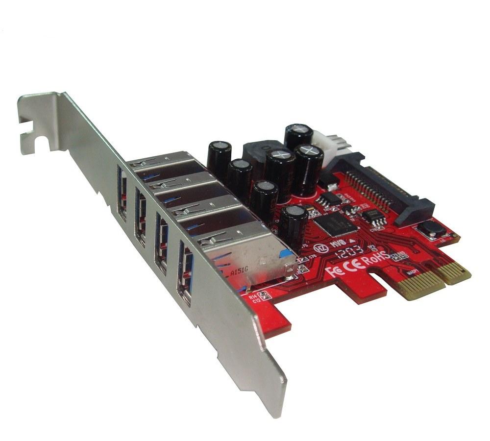 Řadič Kouwell UB-120LN Řadič, PCI-E karta 4x USB3.0 port externí, včetně Low profille UB-120LN