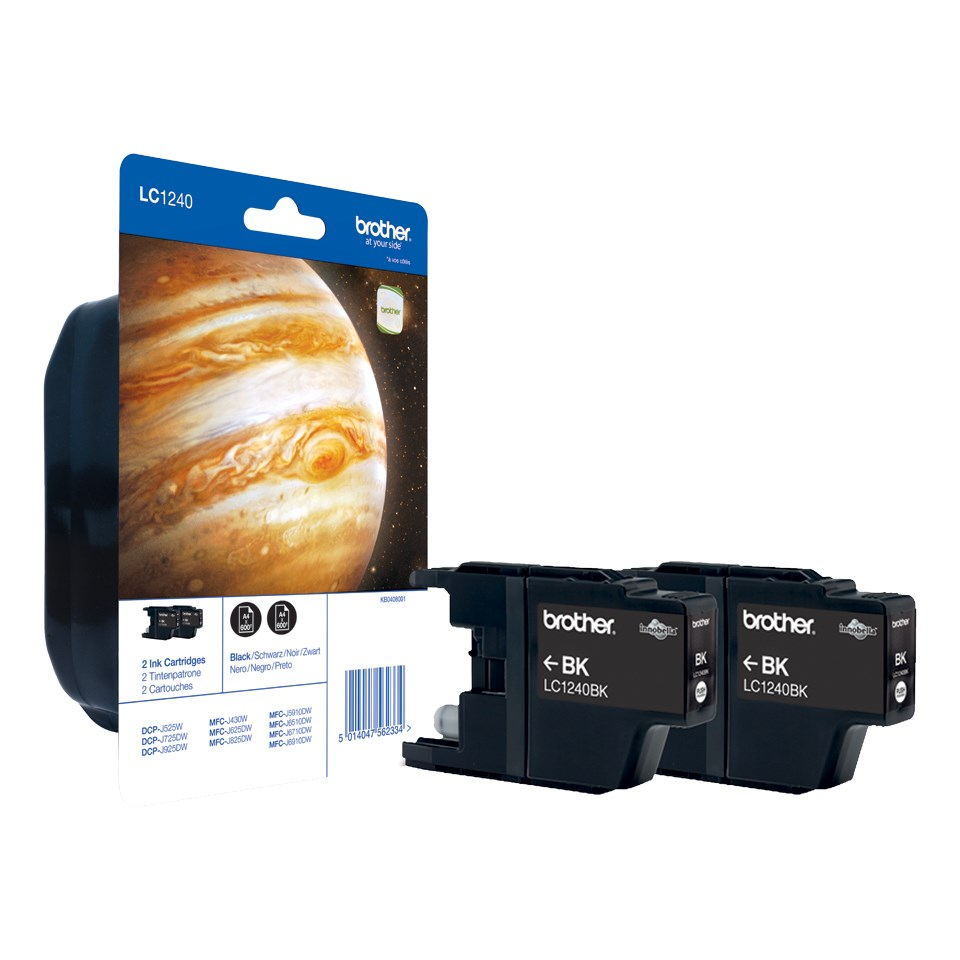 BROTHER inkoustová náplň LC-1240BKBP2/ multipack/ 2x černá