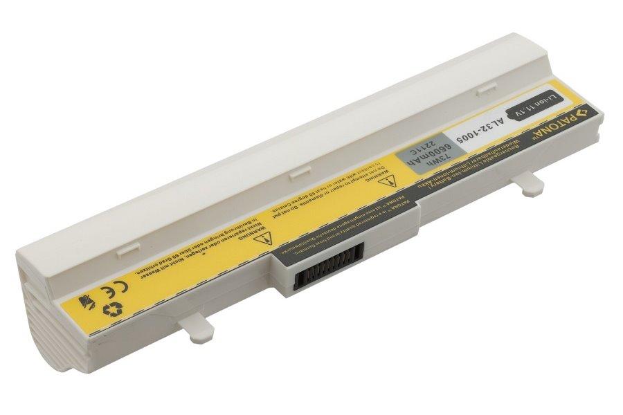 Baterie PATONA pro ASUS 6600 mAh bílá Baterie, 6600 mAh, pro notebooky ASUS Eee PC 105V WT, 1001, 1005, 1101, R101, R105, R1000PX, R1005PX, neoriginální, bílá PT2211