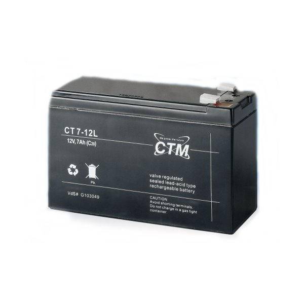 Baterie CTM CT 12-7L Baterie, pro UPS, pro AEG, APC, Eaton, 12V, 7,0Ah, životnost 5 let, konektor Faston 250 04187