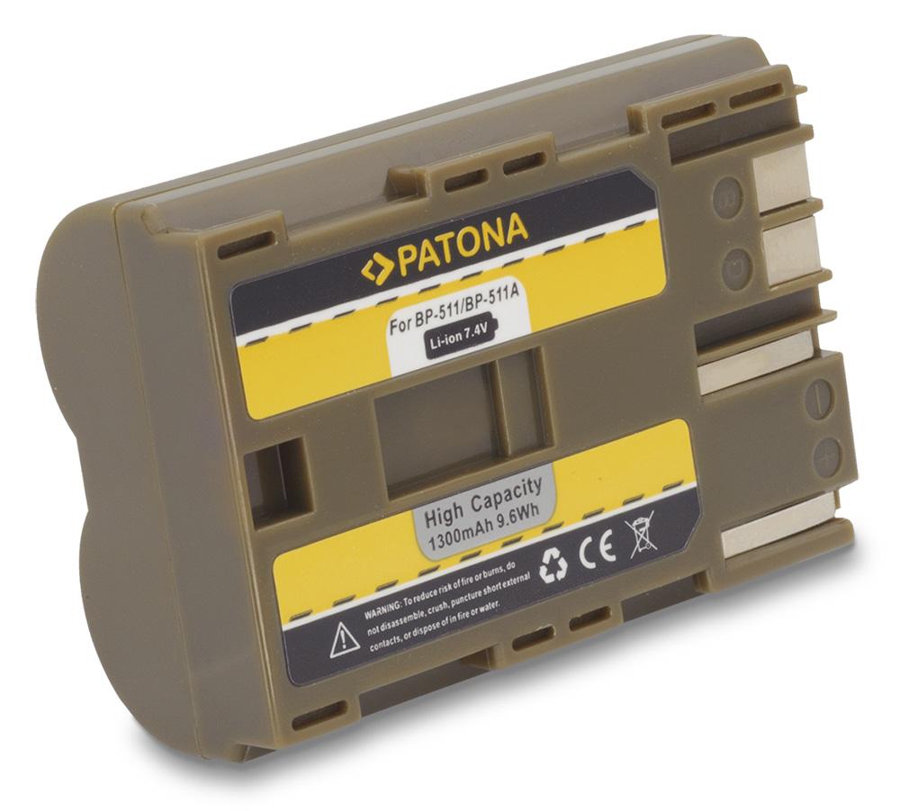 Baterie PATONA kompatibilní s Canon BP-511 Baterie, pro fotoaparát, 1300mAh, Li-Ion PT1008