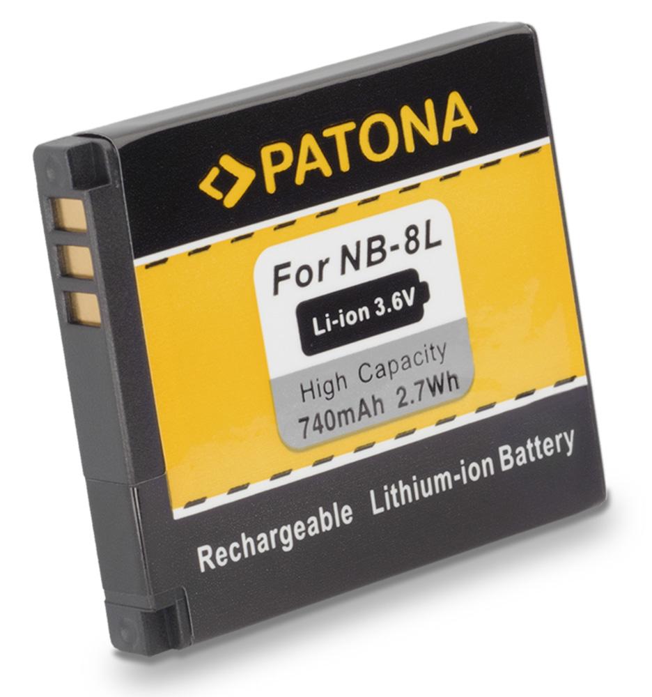 Baterie PATONA kompatibilní s Canon NB-8L Baterie, pro fotoaparát, 740mAh, Li-Ion PT1113