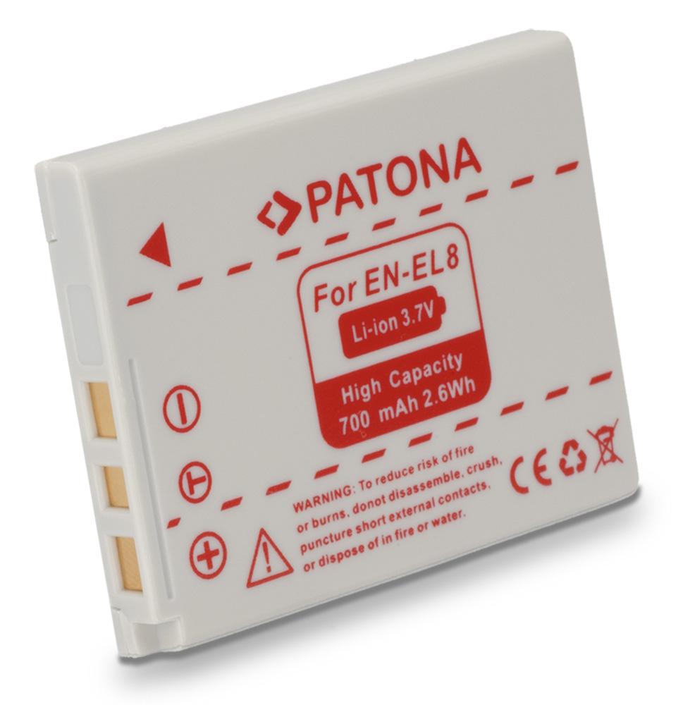 Baterie PATONA kompatibilní s Nikon EN-EL8 Baterie, pro fotoaparát, 600mAh, Li-Ion PT1039