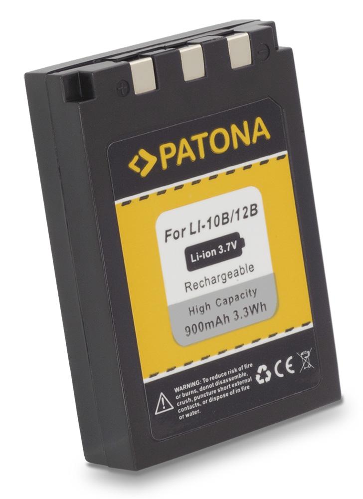Baterie PATONA kompatibilní Olympus Li-12B Li-10B Baterie, pro fotoaparát, 900mAh, Li-Ion PT1029