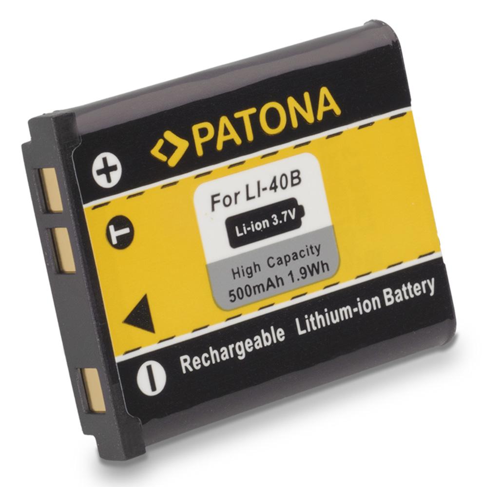 Baterie PATONA kompatibilní Olympus Li-40B Li-42B Baterie, pro fotoaparát, 500mAh, Li-Ion PT1031