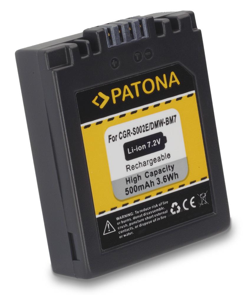 Baterie PATONA kompatibilní s Panasonic DMW-BM7 Baterie, pro fotoaparát, 500mAh, Li-Ion PT1027