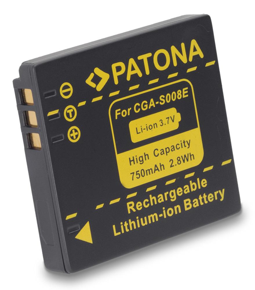 Baterie PATONA kompatibilní s Panasonic S008E Baterie, pro fotoaparát, 750mAh, Li-Ion PT1044