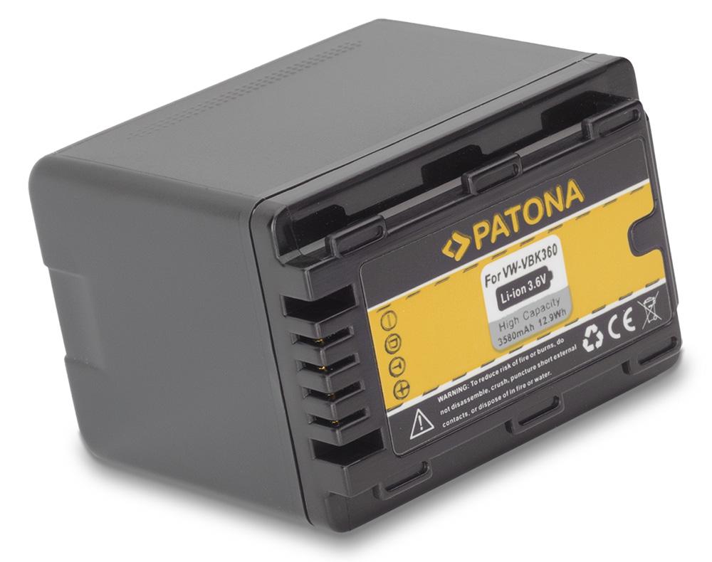Baterie PATONA kompatibilní s Panasonic VBK360 Baterie, pro videokameru, 3580mAh, Li-Ion PT1103