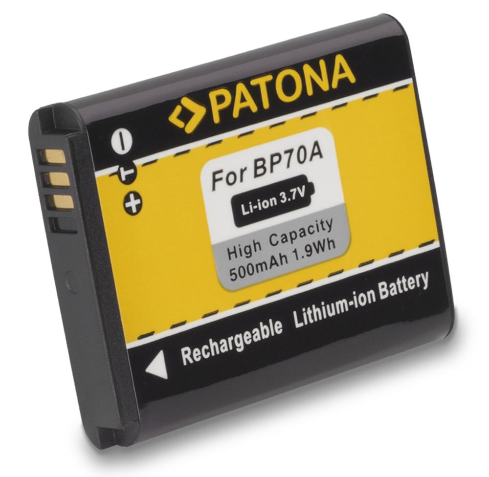 Baterie PATONA kompatibilní s Samsung SLB70A Baterie, pro fotoaparát, 500mAh, Li-Ion PT1080