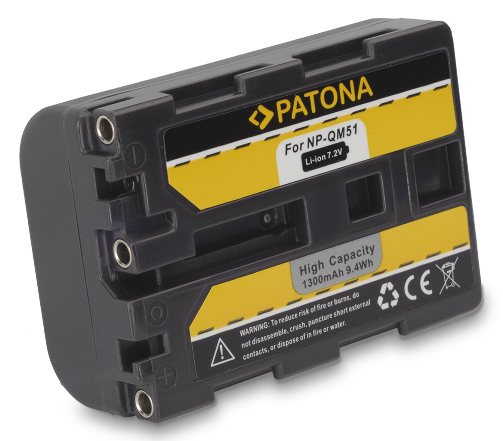 Baterie PATONA kompatibilní s Sony QM51 Baterie, pro videokameru, 1300 mAh, Li-Ion PT1051